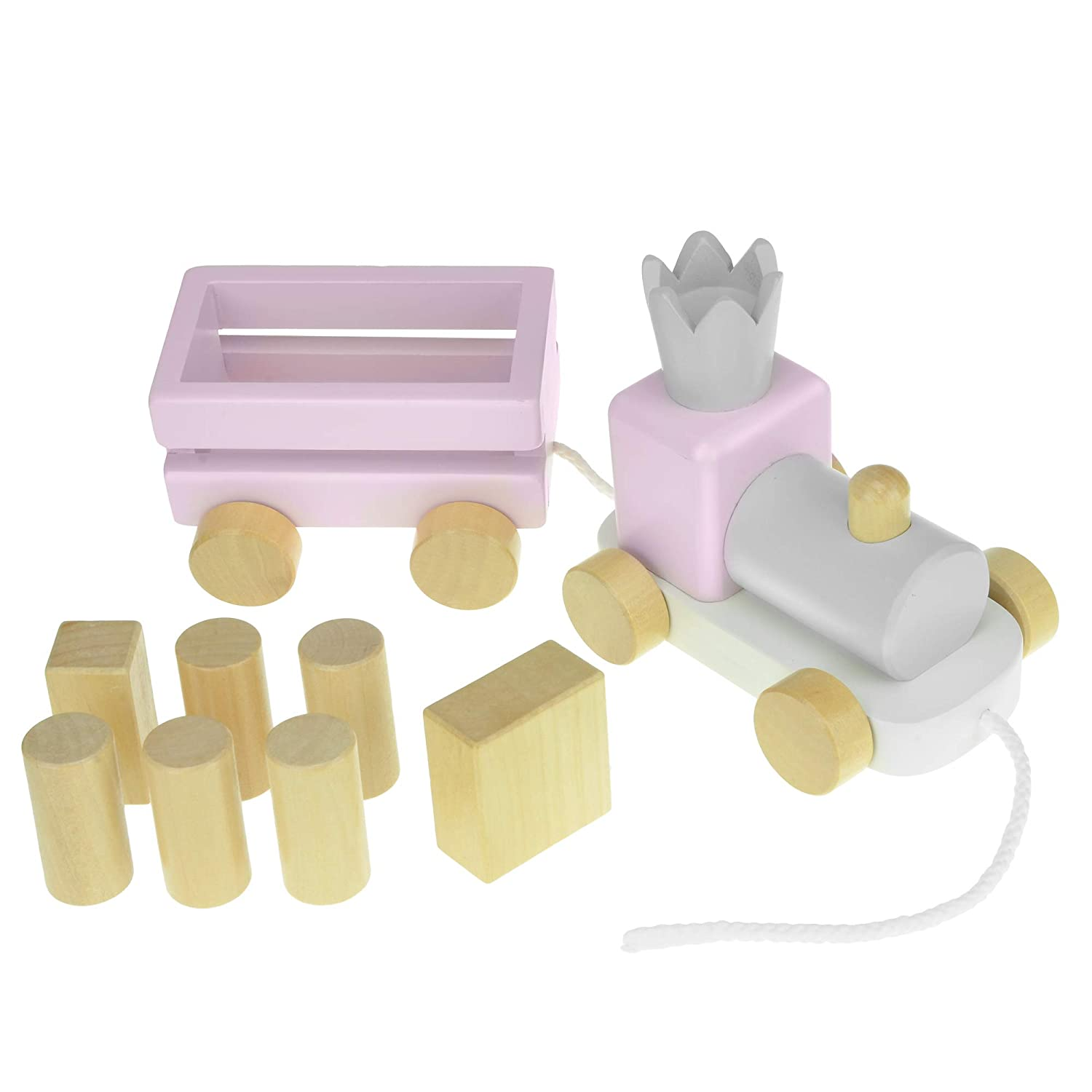 Wooden Pull Along Train Toy for Toddlers 1 Year Old and Up with Wood Blocks Girl - Pink Perfect Toys for A Baby Birthday Gift