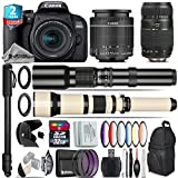 Canon EOS Rebel 800D/T7i Camera + 18-55mm IS STM Lens + 650-1300mm Telephoto Lens + Tamron 70-300mm Di LD Macro Lens + 500mm f/8.0 Telephoto Lens + 2yr Extended Warranty - International Version