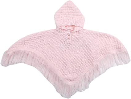 Babytown Baby Knitted Hooded Poncho Fringed Newborn to 24 Months Pink