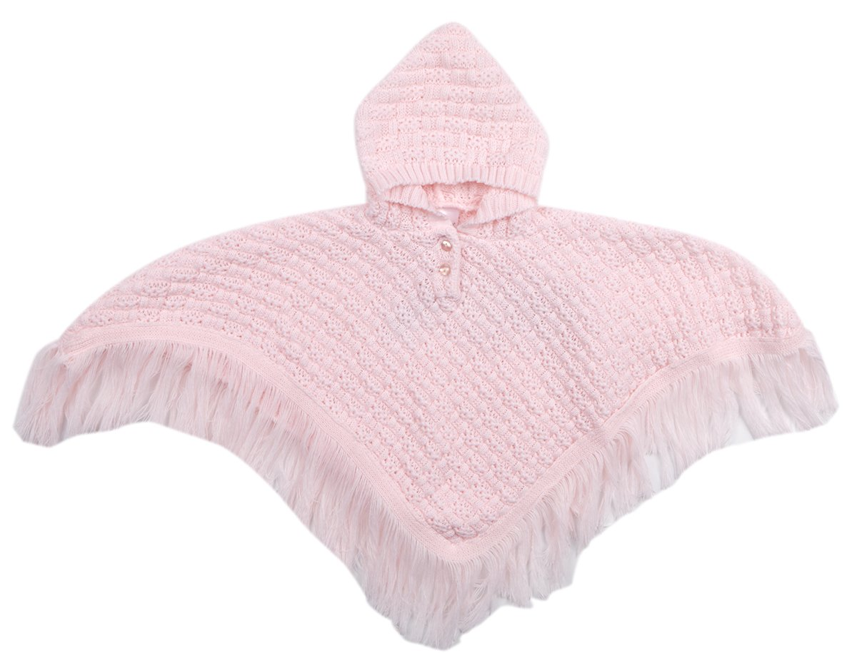 BABY TOWN Baby Knitted Hooded Poncho Fringed Newborn to 24 Months BabyTown