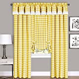 Achim Home Furnishings Buffalo Check Window Curtain Yellow, Tier Pair 58