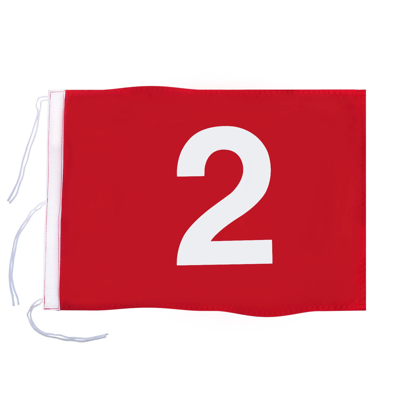 KINGTOP Numbered Golf Flag with Secure Strings, 13'' L x 20'' W, 420D Nylon, Red 2 by KINGTOP