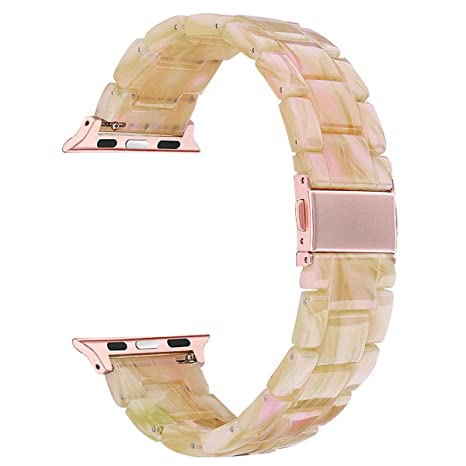 V Moro Compatible Apple Watch Band 38mm 40mm Women   Fashion Resin I Watch Band Bracelet Metal Stainless Steel With Gold Buckle For Apple Watch Series 4 Series 3 Series 2 (Pearly Floral Pink, 38mm) by V Moro