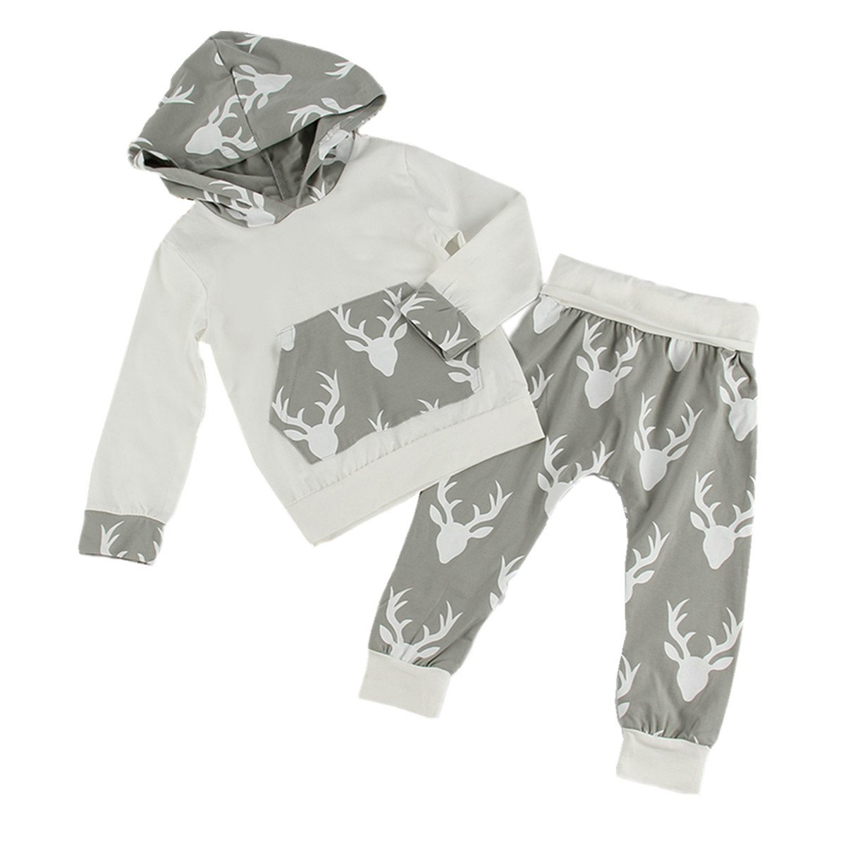 Puseky Newborn Baby Boy Girl Elf Deer Hooded Shirt & Pants Clothes Outfits Set