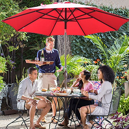 Commercial Patio Tables (Abba Patio 9' Patio Umbrella Outdoor Table Market Umbrella with Push Button Tilt and Crank, Red)