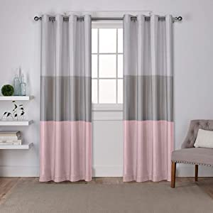 Exclusive Home Curtains Chateau Striped Faux Silk Window Curtain Panel Pair with Grommet Top, 54x84, Blush, 2 Piece