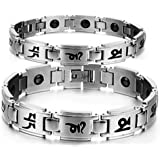 Health Care Bio Magnetic Bracelet | Titanium Magnetic Bracelet for Men and Women | Magnetic Bracelet for Pain Relief, Therapy, Balance and Energy | Silver Color