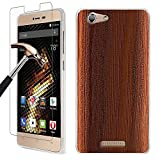 BLU Energy X 2 Case + Screen Protector, Gzerma Ultra Slim Thin Wooden Textured Soft Shock-Absorbing TPU Silicone Cover, Anti-Scratch Non-Tempered Glass Film for BLU Energy X2 Smartphone, Deep Brown