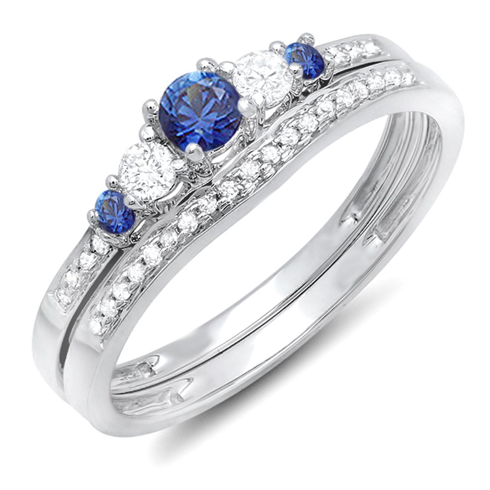 Dazzlingrock Collection 14K Blue Sapphire & White Diamond Ladies 5 Stone Bridal Engagement Ring Set, White Gold, Size 7