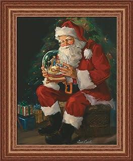 santa believes susan comish santa claus holding nativity snow globe 14x17 framed art print picture