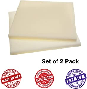 """Upholstery Foam Square Seat Cushion Sheets - Two Pack - Premium Luxury Quality (1/2""""x18""""x18"""", High Density) - Good for Chair, Sofa Cushions,Wheelchairs, Car Seats by Dream Solutions USA"""