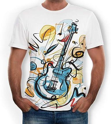 Rosvola Camiseta con Estampado de Guitarra para Hombre, Camiseta ...