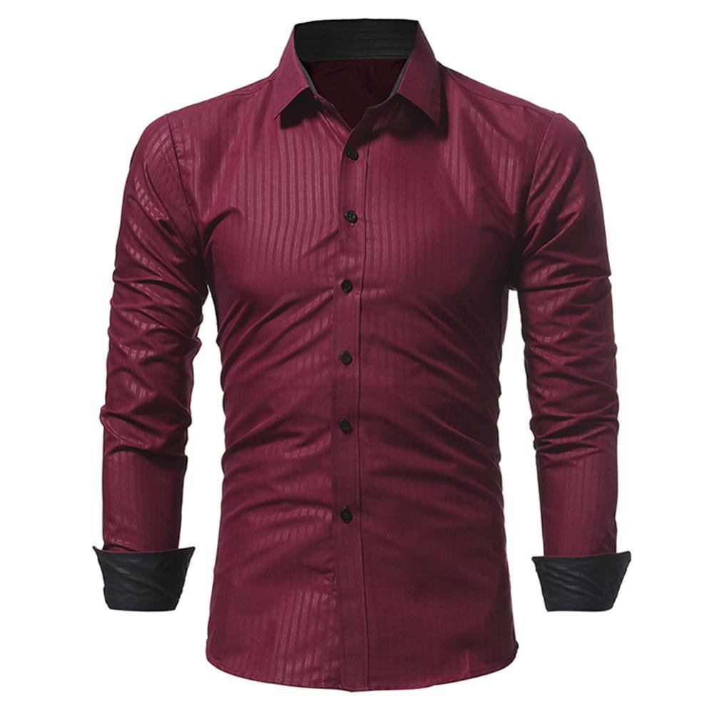 Ximandi Casual Men Shirt Long Sleeve Slim Fit Shirt Mens Striped Dress Shirts