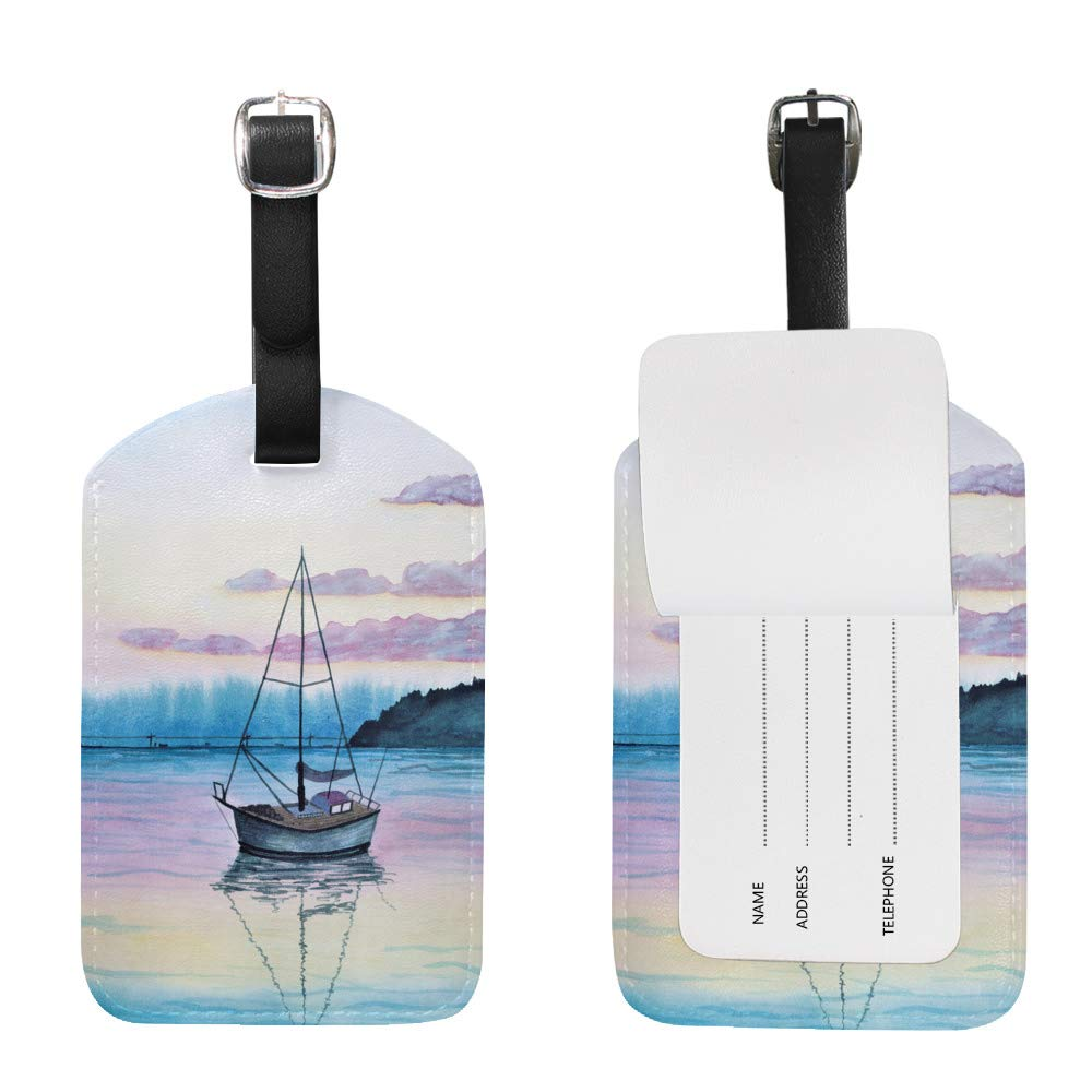 1pcs Luggage Tags PU Leather Tags Suitcase Labels Travel Bag With Privacy Cover Sail Boat Sunset Lake Creative Pattern Printing