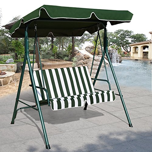 Tangkula 2 Person Canopy Swing Glider Hammock Garden Backyard Cushioned Steel Frame Loveseat Swing (Green)