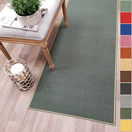 (Custom Size Teal-Green Solid Plain Rubber Backed Non-Slip Hallway Stair Runner Rug Carpet 22 inch Wide Choose Your Length 22in X 5ft)