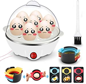 Egg Cooker for Hard Boiled Eggs Electric Egg Boiler Maker with Auto Shut Off & Measuring Cup, Quickly Makes 7 Eggs, Hard or Soft Boiled, 5.9 x 5.9 x 5.9