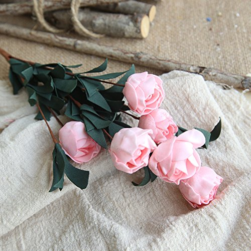 Allywit Artificial Flower Roses Fake Small Roses Real 5 Heads Touch Artificial Roses Silk Artificial Roses Long Stem Bridal Wedding Bouquet