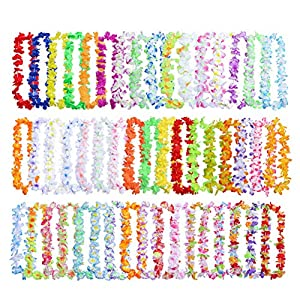 Artificial Flowers Leis 50pcs/pack Silk Cloth Wreath Summer Fashion Beach Party Decor Durable Garland Necklace Hanging Fancy Ornaments Colorful Lightweight 60