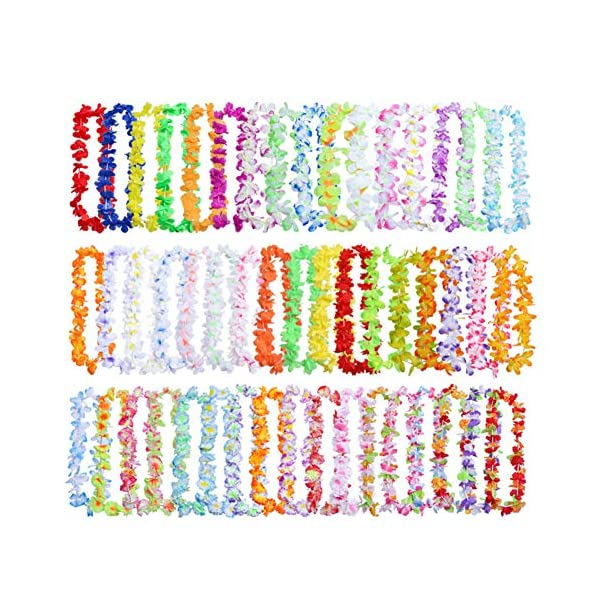 Artificial Flowers Leis 50pcs/pack Silk Cloth Wreath Summer Fashion Beach Party Decor Durable Garland Necklace Hanging Fancy Ornaments Colorful Lightweight
