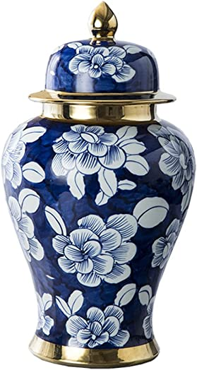 PeaceipUS Jingdezhen Hand-Painted Blue and White Pot Ceramic Vase Ornaments Chinese Style Living Room Home Decorations