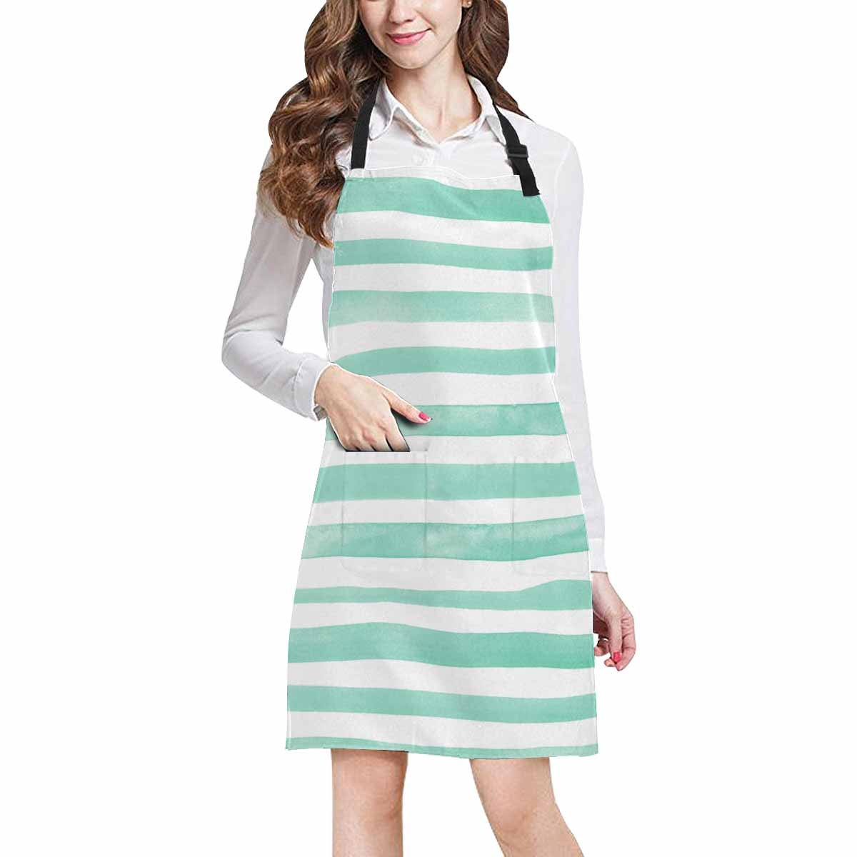 InterestPrint Abstract Light Mint Lines and Stripes Home Kitchen Apron for Women Men with Pockets, Unisex Adjustable Bib Apron for Cooking Baking Gardening, Large Size