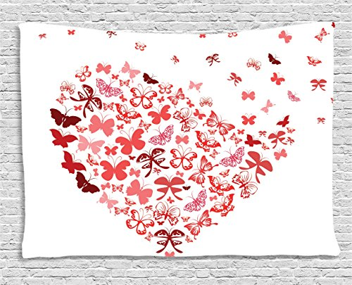 Ambesonne Love Decor Collection, Butterfly Heart For Valentine Anniversary Celebration