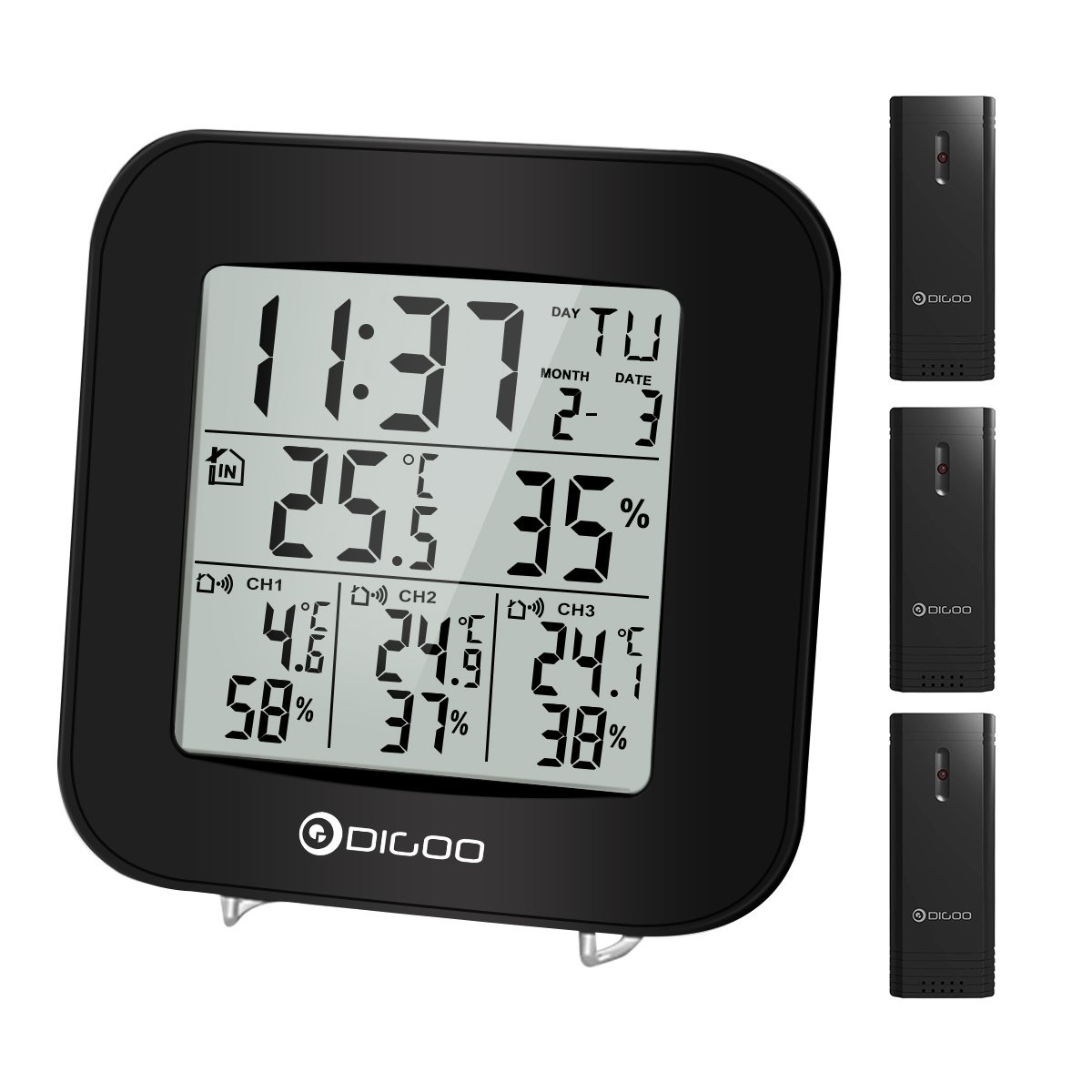 DIGOO 3 Channels Digital In&Outdoor Hygrometer Thermometer Sensor With Alarm Clock, Black