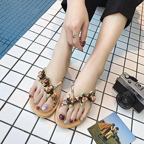 Sandalias de Mujer JITIAN Marrón Sintético Y8Rqzqn
