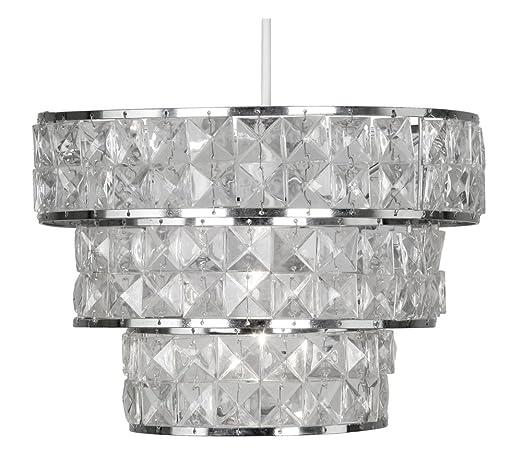 Oaks Lighting 340 CH Cadini - Pantalla para lámpara de techo (estructura de cromo pulido y decoración con lágrimas de acrílico)