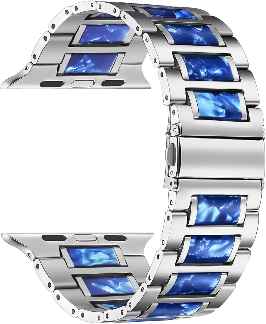 DMMG Compatible with 44mm 42mm Apple Watch Band Colorful Blue Resin Silver Stainless Steel Wristbands Womens Mens Metal Link Wristbands Strap for Iwatch Series 6 5 4 3 2 1 SE (Blue)