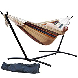9 FT. Double Hammock with Space Saving Steel Hammock Stand, Tan Stripe