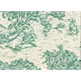 French Country Pool Green Toile Cal King Duvet Cover with Gingham Check Reverse