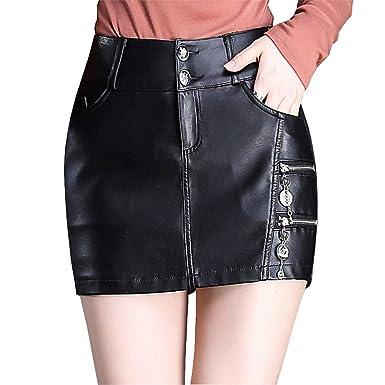 E-Girl ED6380 - Falda de Piel sintética para Mujer, Cintura Alta ...
