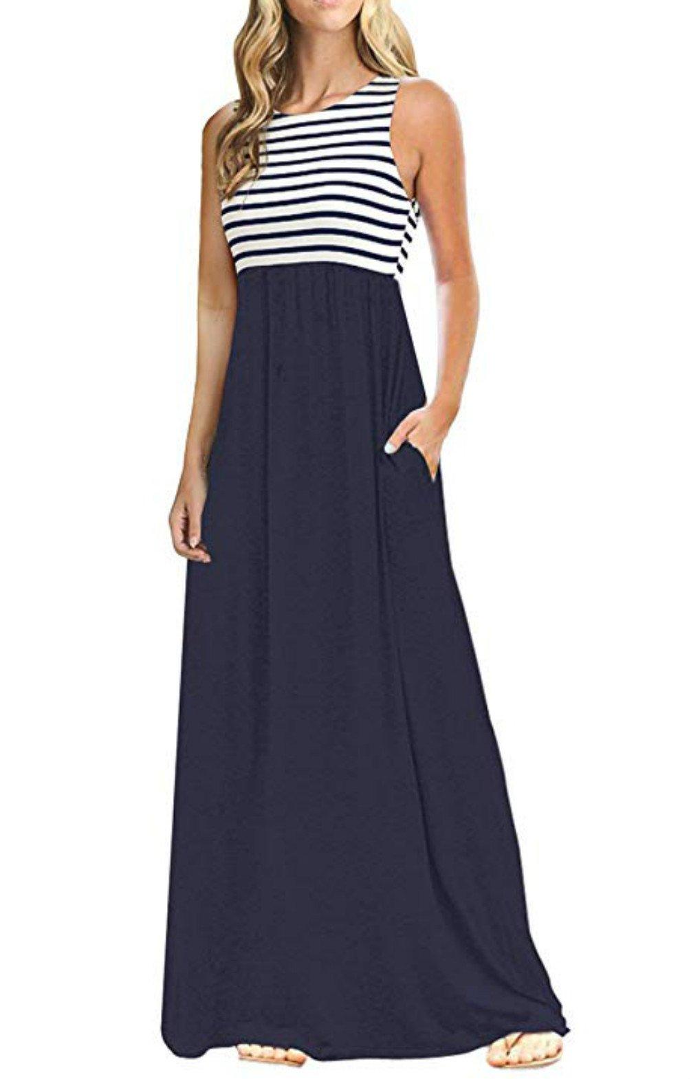 PALINDA Women's Summer Striped Sleeveless High Waist Long Maxi Dress with Pockets(Navy Blue,XL)