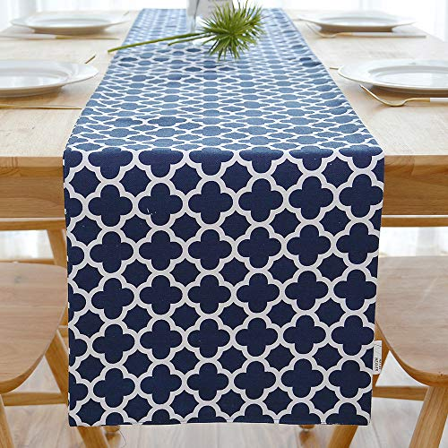 NATUS WEAVER 2 Piece Fabric in 1 Quatrefoil Lattice Accent Geometric Table Runner for Morden & Stylish Wedding Holiday Party Decor,Cotton Canvas 12 x 72 Inches, Navy Blue