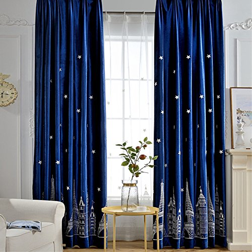 Cheap  VIVIFabric Grommet Top Embroidered Romantic Star Eiffel Tower Ultra Sleep Window Treatment..