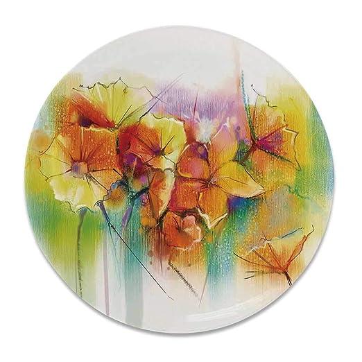 YOLIYANA - Plato Decorativo de cerámica con diseño de Flores de ...