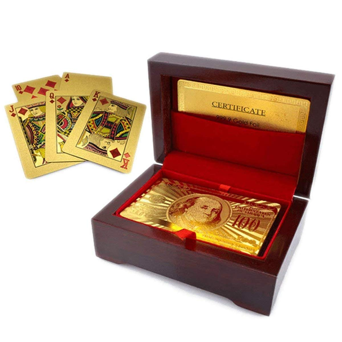 Luxurious 24K Gold Plated Playing Cards with Case - Make Your Magic Tricks More Luxurious & Creative for Family & Friends by Free Ship Deal