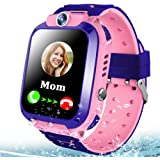 MiKin Kids Smart Watch Phone for Girls Boys GPS Tracker IP67 Waterproof Smartwatch with 2 Way Call Games SOS Voice Chat Front Camera Alarm Clock 1.44