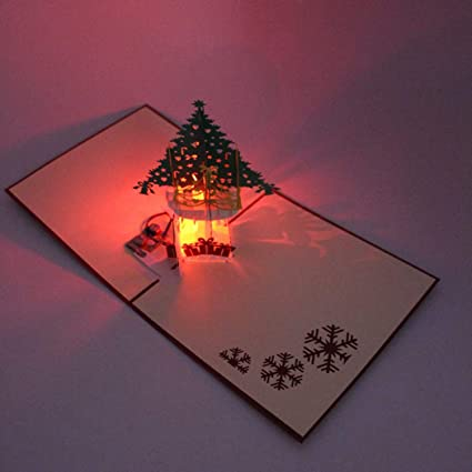 Amazon JUSTDOLIFE Christmas Greeting Cards LED Light 3D Pop Up Birthday Holiday Kitchen Dining