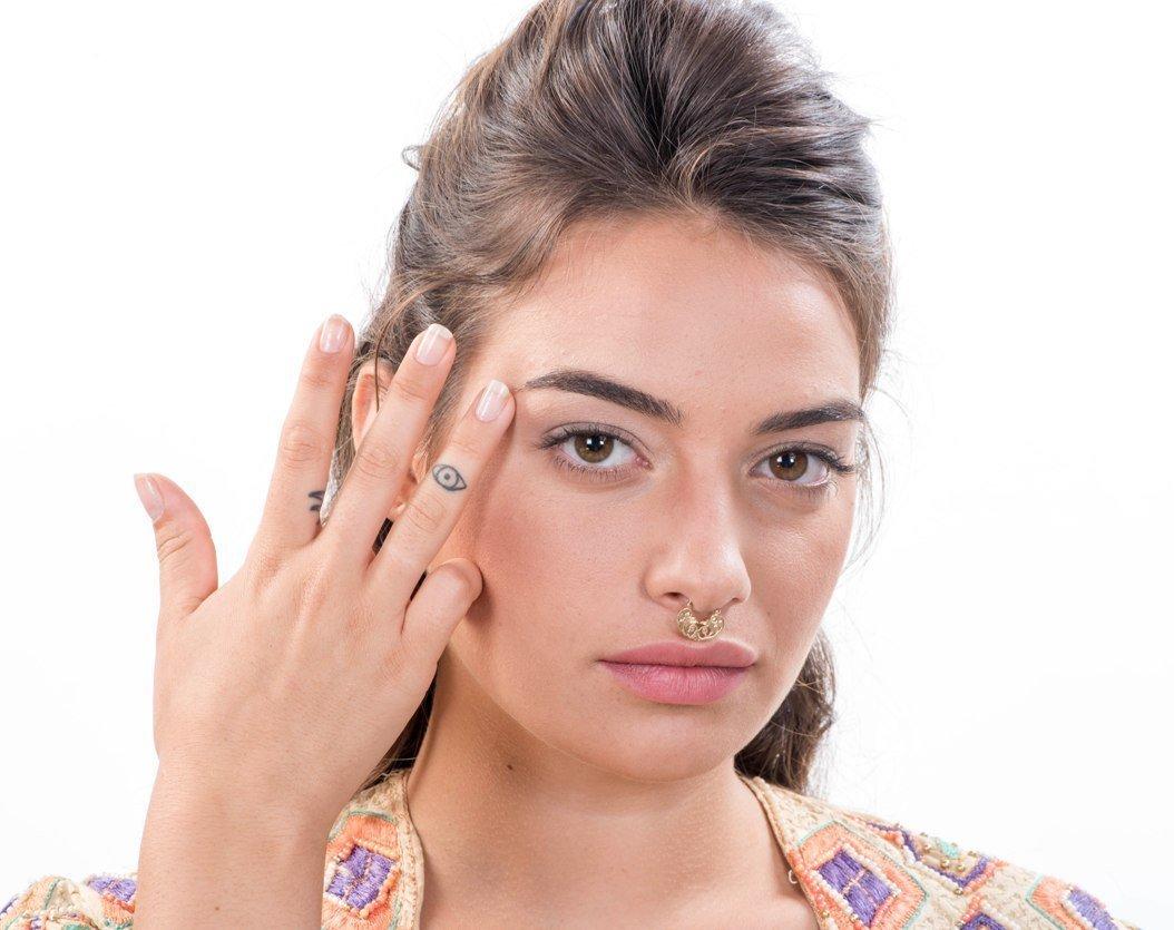 Handmade Designer Septum Ring Piercing, Arab / Indian Style Jewelry, 14K Gold, 16-20 Gauge, Diameter selection