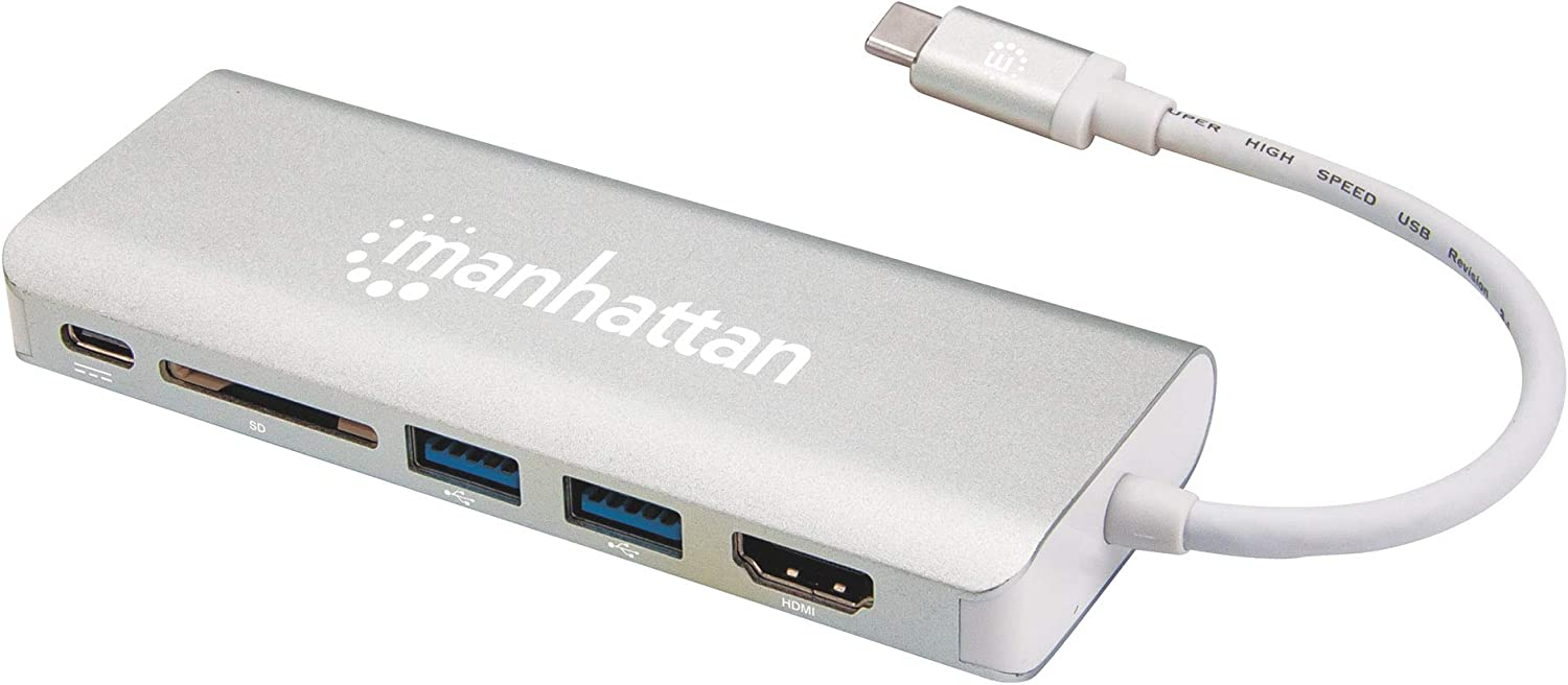 Manhattan SuperSpeed USB-C Multiport Adapter USB to HDMI Two USB 3.0 A Ports Port Aluminum SD Card Reader; Mirror or Extend Gigabit RJ45 Port Compact Design PD USB-C Power Delivery