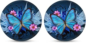 HUGS IDEA Blue Butterfly Car Cup Coasters 2.8 Inch Absorbent Coaster Set of 2, Universal Fit Keep Vehicle Free from Cold Drink Sweat