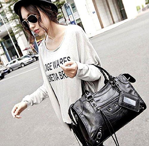 Handle E Motorcycle Top Dark Pu Women Rivet Hobo Leather Bag Body Handbag Grey Tassels Punk Studded Satchel Cross vZnqvd