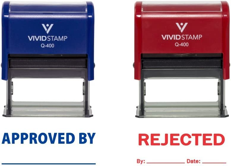 Approved//Rejected by Date Self Inking Rubber Stamp 2 Pack Blue Ink//Red Ink Large