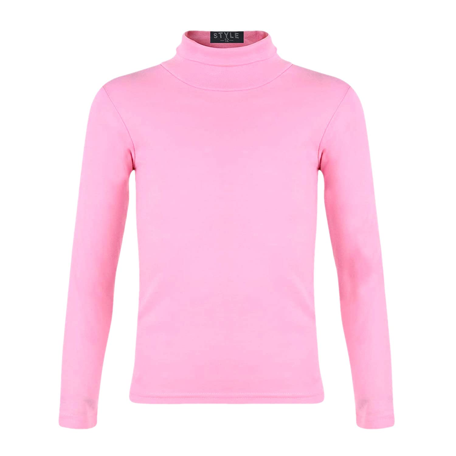 Kids Turtleneck Long Sleeve Plain Basic Top Girls Boys Jersey Polo Tops 2-14 Yr