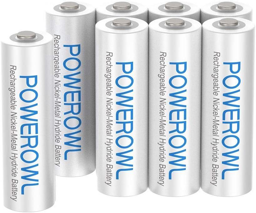 POWEROWL Pilas Recargables AAA Precarga 1000mAh Alta Capacidad 1.2V Ni-MH Recargable AAA Pilas Baja Autodescarga (8 Piezas, Recargable Aproximadamente 1200 Veces)