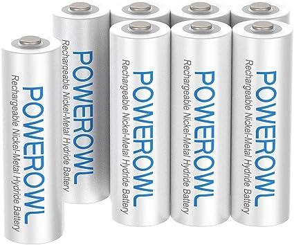 POWEROWL Pilas Recargables AAA Precarga 1000mAh Alta Capacidad 1.2V Ni-MH Recargable AAA Pilas Baja Autodescarga (8 Piezas, Recargable Aproximadamente 1200 Veces): Amazon.es: Electrónica
