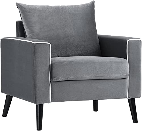 Divano Roma Furniture Mid-Century Modern Velvet Fabric Armchair Living Room Accent Chair Dark Grey
